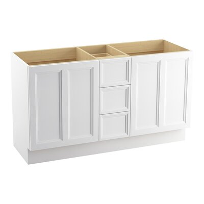 Damask� 60 Vanity with Toe Kick, 2 Doors and 3 Drawers, Split Top Drawer Finish: Linen White