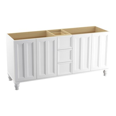 Damask 72 Vanity with Furniture Legs, 4 Doors and 3 Drawers Finish: Linen White