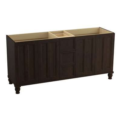 Damask 72 Vanity with Furniture Legs, 4 Doors and 3 Drawers Finish: Claret Suede