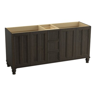 Damask� 72 Vanity with Furniture Legs, 4 Doors and 3 Drawers, Split Top Drawer Finish: Felt Grey