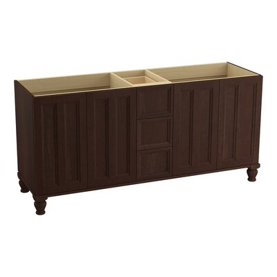 "Damask 72"" Vanity Base with Furniture Legs, 4 Doors and 3 Drawers Finish: Cherry Tweed"
