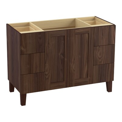 Poplin 48 Vanity with Furniture Legs, 2 Doors and 6 Drawers Finish: Terry Walnut