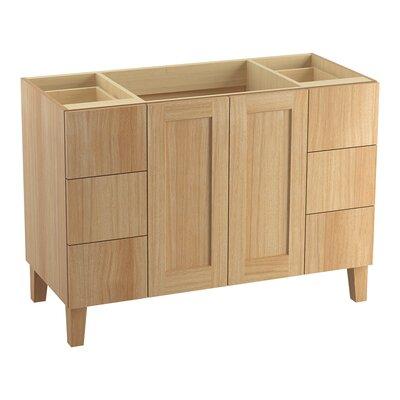 Poplin Tones 48 Vanity with Furniture Legs, 2 Doors and 6 Drawers, Split Top Drawers Finish: Khaki White Oak