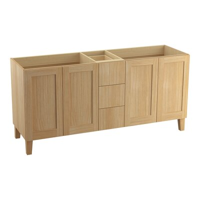 Poplin 72 Vanity with Furniture Legs, 4 Doors and 3 Drawers Finish: Khaki White Oak
