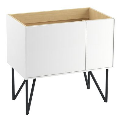 Jute 36 Vanity Base with 1 Door and 1 Drawer on Left Finish: Linen White