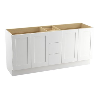 Poplin 72 Vanity with Toe Kick, 4 Doors and 3 Drawers, Split Top Drawer Finish: Linen White