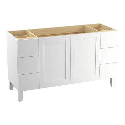 Poplin 60 Vanity with Furniture Legs, 2 Doors and 6 Drawers Finish: Linen White