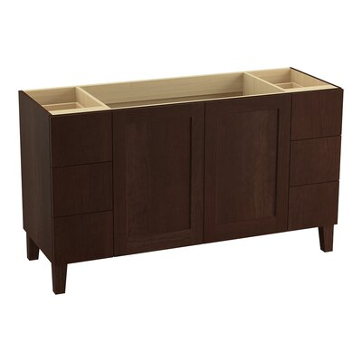 Poplin 60 Vanity with Furniture Legs, 2 Doors and 6 Drawers Finish: Cherry Tweed