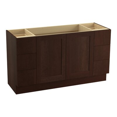Poplin 60 Vanity with Toe Kick, 2 Doors and 6 Drawers, Split Top Drawers Finish: Cherry Tweed