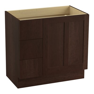 "Poplin 36"" Vanity Base with Toe Kick, 1 Door and 3 Drawers on Left Finish: Cherry Tweed"