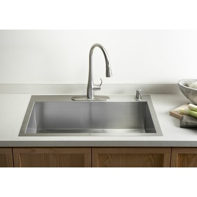 Vault 33 x 22 x 9-5/16 Top-Mount/Under-Mount Large Single-Bowl Kitchen Sink with Single Faucet Hole