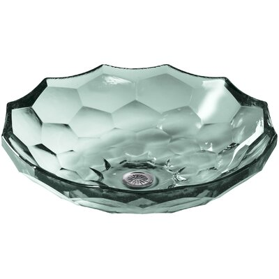 Briolette Glass Circular Vessel Bathroom Sink Finish: Translucent Dew