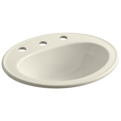 Pennington Ceramic Oval Drop-In Bathroom Sink with Overflow Finish: Almond, Faucet Hole Style: Single