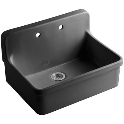 Gilford 30 x 22 x 9-1/2 Wall-Mount/Top-Mount Single-Bowl Kitchen Sink Finish: Black Black