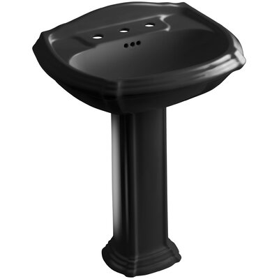 Portrait� Ceramic 27 Pedestal Bathroom Sink with Overflow Finish: Black Black, Faucet Hole Style: Single
