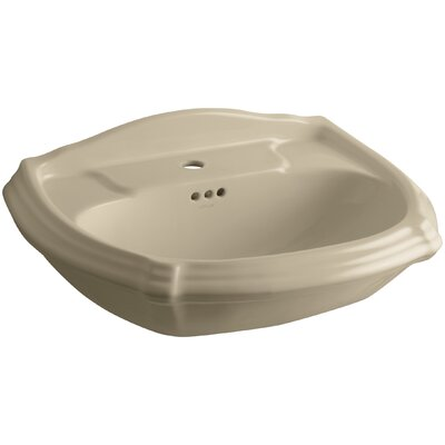 Portrait� Ceramic 27 Pedestal Bathroom Sink with Overflow Finish: Mexican Sand, Faucet Hole Style: 4 Centerset