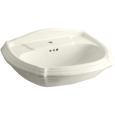 Portrait� Ceramic 27 Pedestal Bathroom Sink with Overflow Finish: Biscuit, Faucet Hole Style: Single