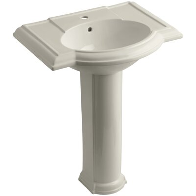 Devonshire� Ceramic 28 Pedestal Bathroom Sink with Overflow Finish: Sandbar, Faucet Hole Style: 8 Widespread