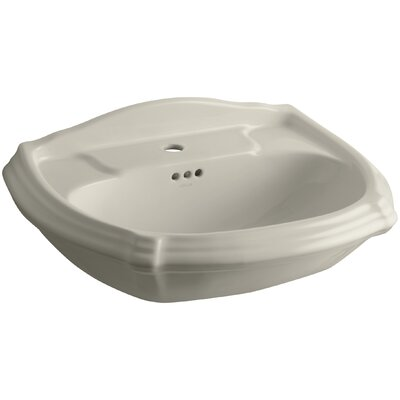 Portrait� Ceramic 27 Pedestal Bathroom Sink with Overflow Finish: Sandbar, Faucet Hole Style: 4 Centerset
