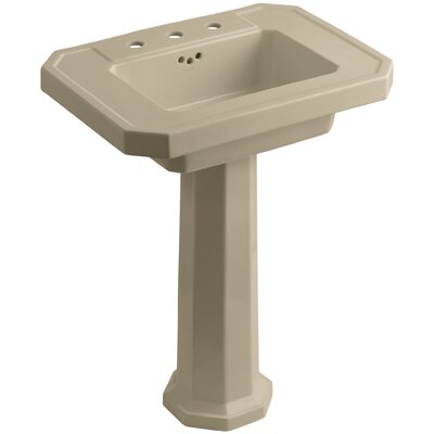 Kathryn Ceramic 27 Pedestal Bathroom Sink with Overflow Finish: Mexican Sand, Faucet Hole Type: 8 Widespread