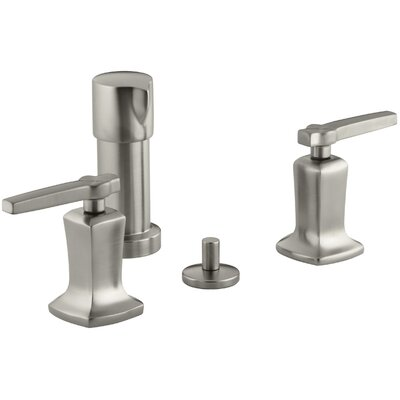 Margaux Vertical Spray Bidet Faucet with Lever Handles Finish: Vibrant Brushed Nickel