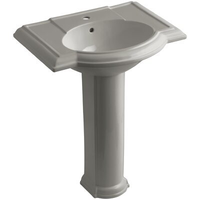 Devonshire 28 Pedestal Bathroom Sink Finish: Cashmere, Faucet Hole Style: 8 Widespread