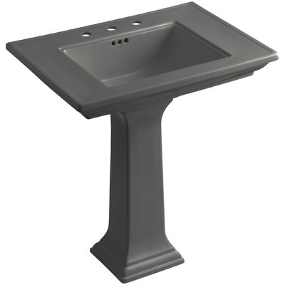 Memoirs� Ceramic 30 Pedestal Bathroom Sink with Overflow Finish: Thunder Grey, Faucet Hole Style: Single