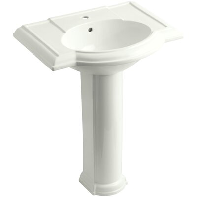 Devonshire� Ceramic 28 Pedestal Bathroom Sink with Overflow Finish: Dune, Faucet Hole Style: Single