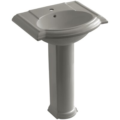 Devonshire 24 Pedestal Bathroom Sink Finish: Cashmere, Faucet Hole Style: 4 Centerset