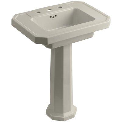 Kathryn 27 Pedestal Bathroom Sink with Overflow Finish: Sandbar, Faucet Hole Type: 8 Widespread