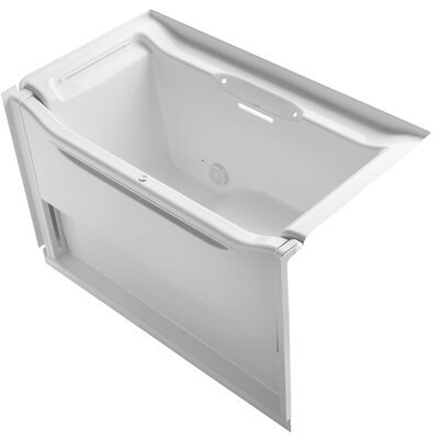 Elevance Rising Wall Alcove 60 x 34 Soaking Bathtub Finish: White, Drain Location: Left