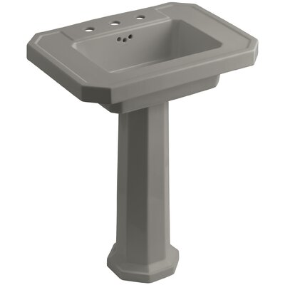 Kathryn Ceramic 27 Pedestal Bathroom Sink with Overflow Finish: Cashmere, Faucet Hole Type: 8 Widespread