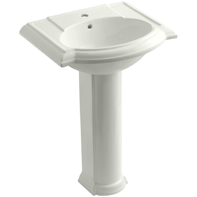 Devonshire Ceramic 25 Pedestal Bathroom Sink with Overflow Finish: Dune, Faucet Hole Style: 8 Widespread