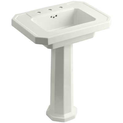 Kathryn Ceramic 27 Pedestal Bathroom Sink with Overflow Finish: Dune, Faucet Hole Type: 8 Widespread