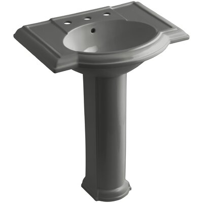 Devonshire 28 Pedestal Bathroom Sink Finish: Thunder Grey, Faucet Hole Style: 8 Widespread