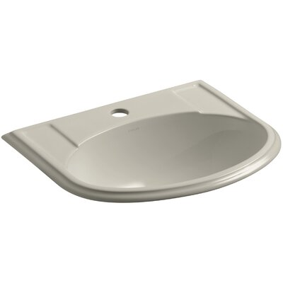 Devonshire Ceramic U-Shaped Drop-In Bathroom Sink with Overflow Finish: Sandbar