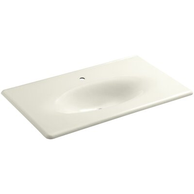 Iron Impressions 38 Single Bathroom Vanity Top Top Finish: Biscuit, Faucet Hole Style: Single