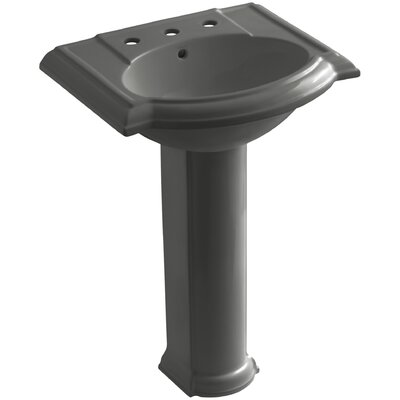 Devonshire Ceramic 25 Pedestal Bathroom Sink with Overflow Finish: Thunder Grey, Faucet Hole Style: Single