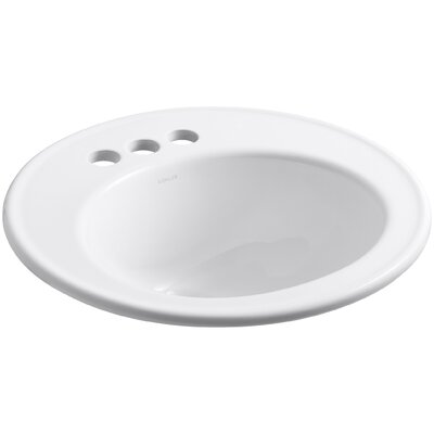 Brookline Ceramic Circular Drop-In Bathroom Sink with Overflow Finish: White, Faucet Hole Style: 4 Centerset