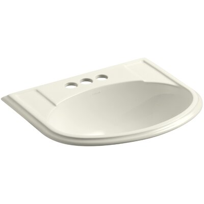 Devonshire� Ceramic U-Shaped Drop-In Bathroom Sink with Overflow Finish: Biscuit