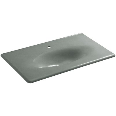 Iron Impressions 38 Single Bathroom Vanity Top Top Finish: Basalt, Faucet Hole Style: Single