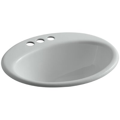 Farmington Metal Oval Drop-In Bathroom Sink with Overflow Finish: Ice Grey