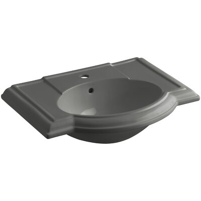 Devonshire� Ceramic 28 Pedestal Bathroom Sink with Overflow Finish: Thunder Grey