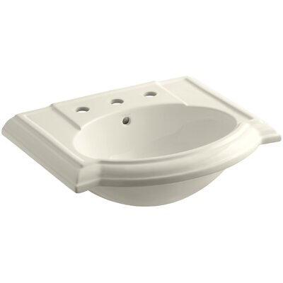 Devonshire� Ceramic 24 Pedestal Bathroom Sink with Overflow Finish: Almond