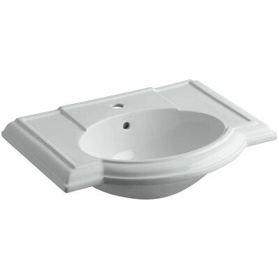 Devonshire� Ceramic 28 Pedestal Bathroom Sink with Overflow Finish: Ice Grey