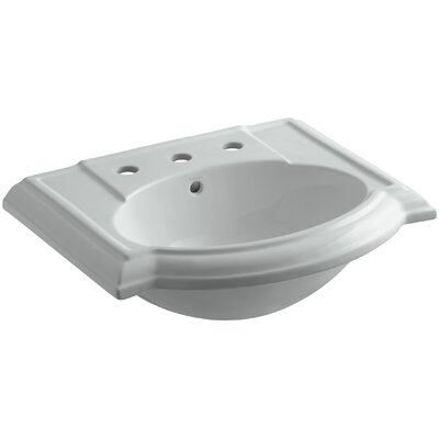 Devonshire� Ceramic 24 Pedestal Bathroom Sink with Overflow Finish: Ice Grey