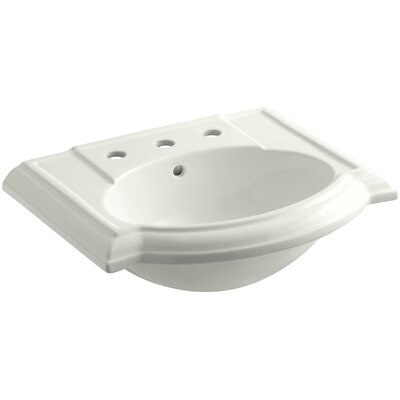 Devonshire� Ceramic 24 Pedestal Bathroom Sink with Overflow Finish: Dune