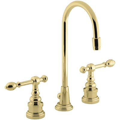 Iv Georges Brass Widespread Bathroom Sink Faucet with High Country Swing Spout and Lever Handles Finish: Vibrant Polished Brass