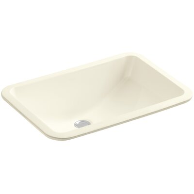 Ladena Rectangular Undermount Bathroom Sink with Overflow Finish: Biscuit with Glazed Underside