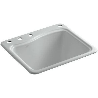 River Falls Top-Mount Utility Sink with 4 Faucet Holes - 3-Holes On Deck On The Left and Right-Hand Accessory Hole Finish: Ice Grey